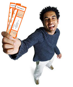 Image result for person holding a ticket